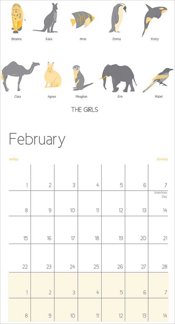 animal family calendar tempalte