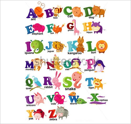 animal nursery alphabet letters from a to z