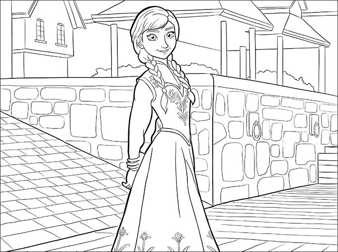 anna town frozen coloring page1