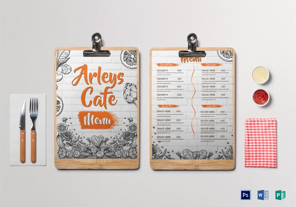 arleys cafe menu psd template