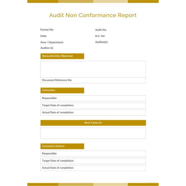 audit non conformance report template