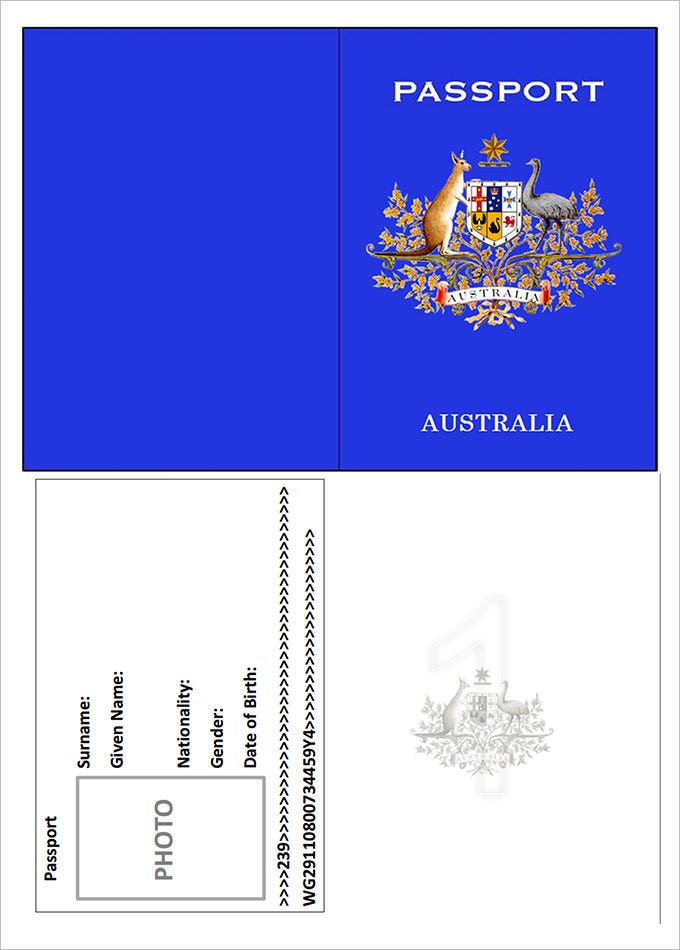 Awesome Australia Passport Template In Free Passport Template For Kids