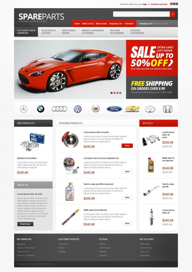 15 popular auto parts open cart themes templates free premium templates. Black Bedroom Furniture Sets. Home Design Ideas