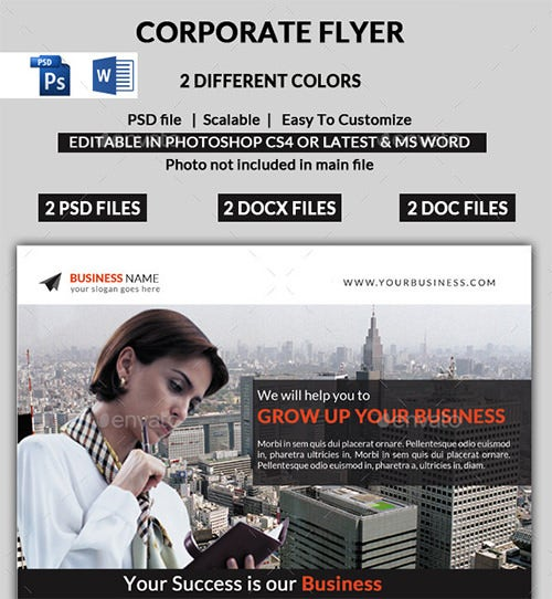 awsome corporate word flyer template