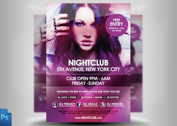 awsome night club flyer template