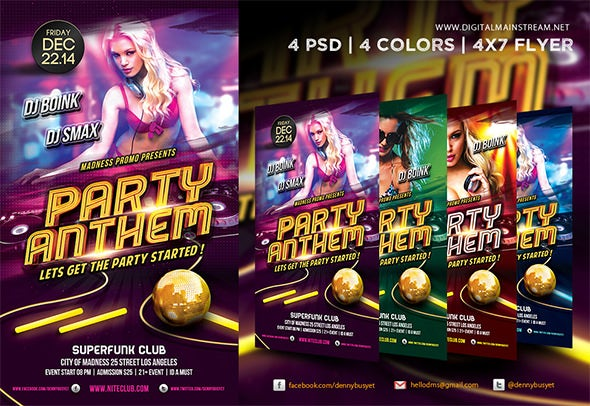 awsome party anthem night club flyer template