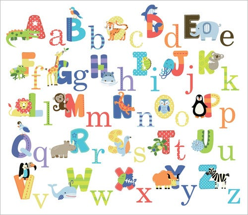 baby nursery animal alphabet letter wall sticker