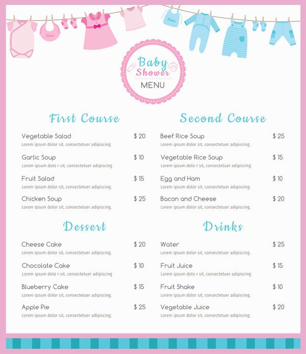 baby shower menu psd template