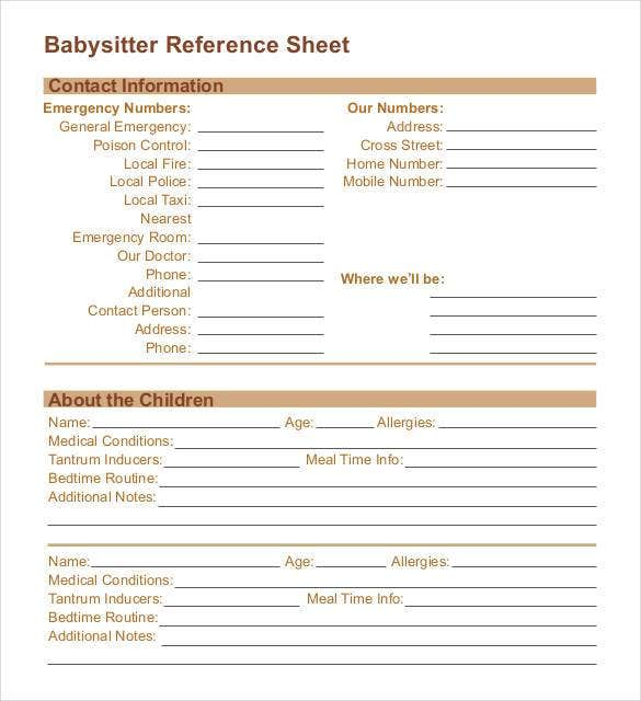 babysitter-reference-sheet