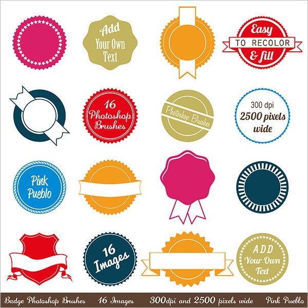 badges photoshop frame brushes