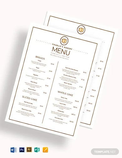 bakery menu design template