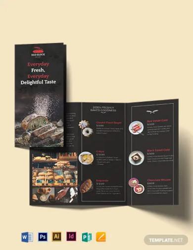 bakery menu tri fold brochure template