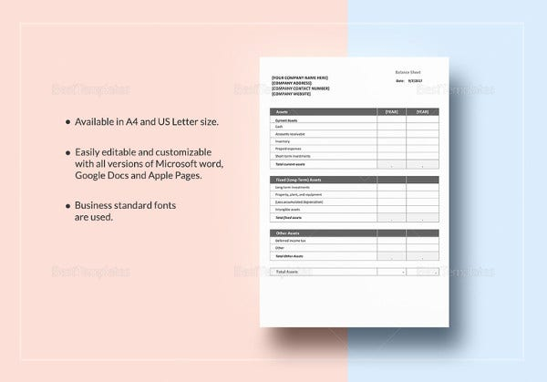 pro forma balance sheet 8 free excel pdf documents download