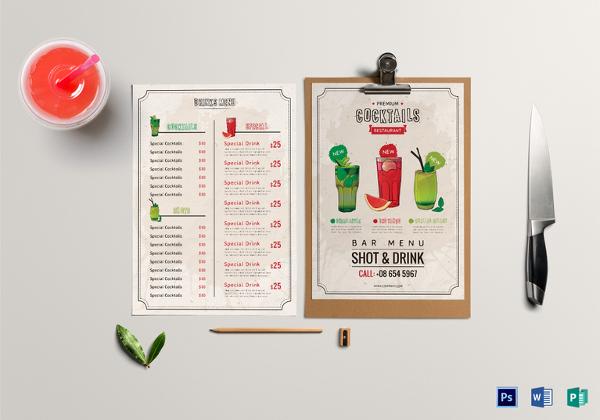 bar drink menu template