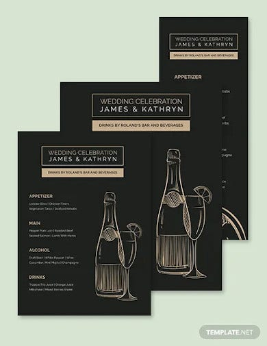 bar drink wedding menu template