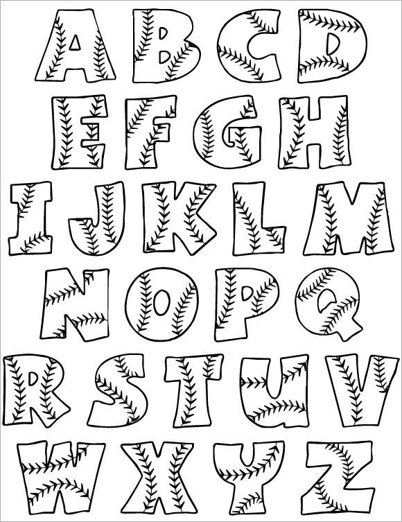 baseball free bubble alphabet letters 1