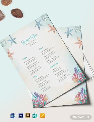 beach wedding menu template1