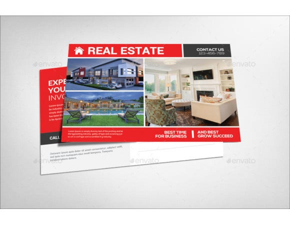 beautiful real estate business postcard