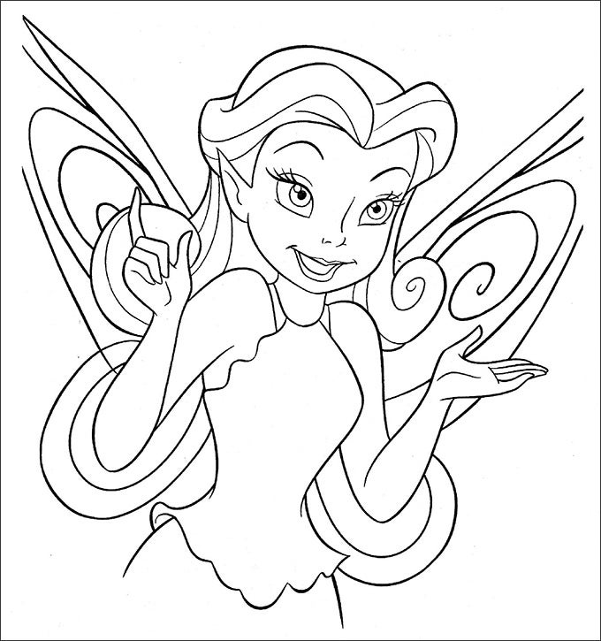 beautiful tinkerbell coloring page