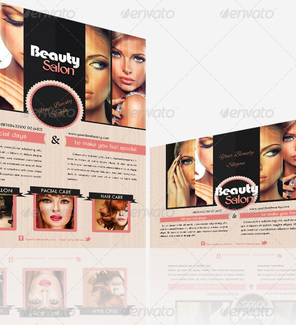 beauty saloon postcard flyer template