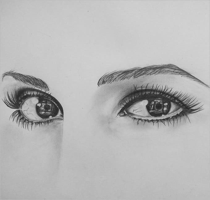 beautyful eyes pencil drawing