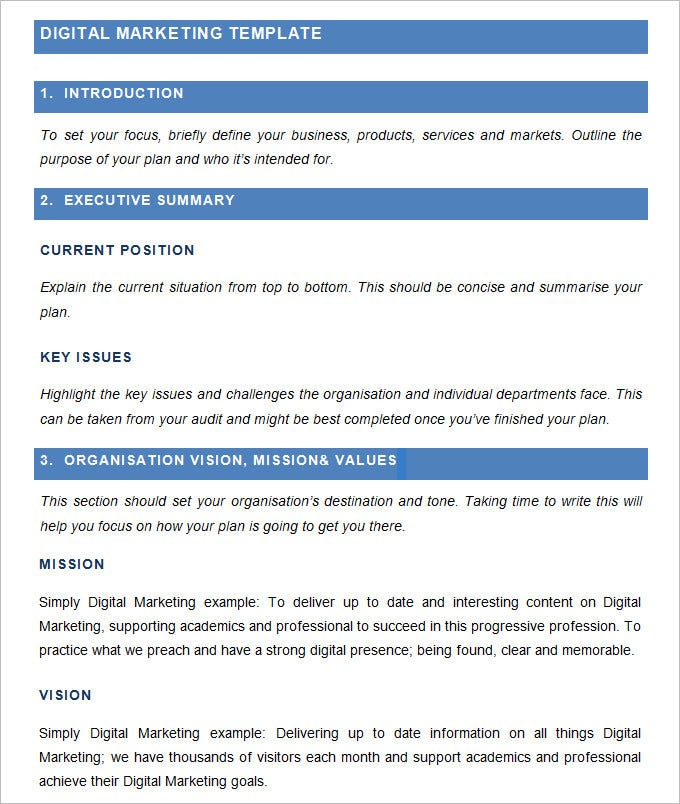 Digital Marketing Plan Template  Free Word  Documents