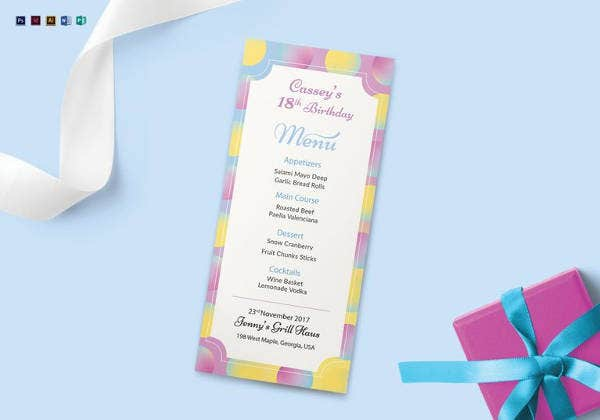 birthday dinner menu template in indesign