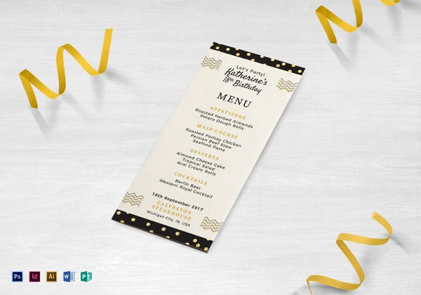birthday dinner party menu indesign template