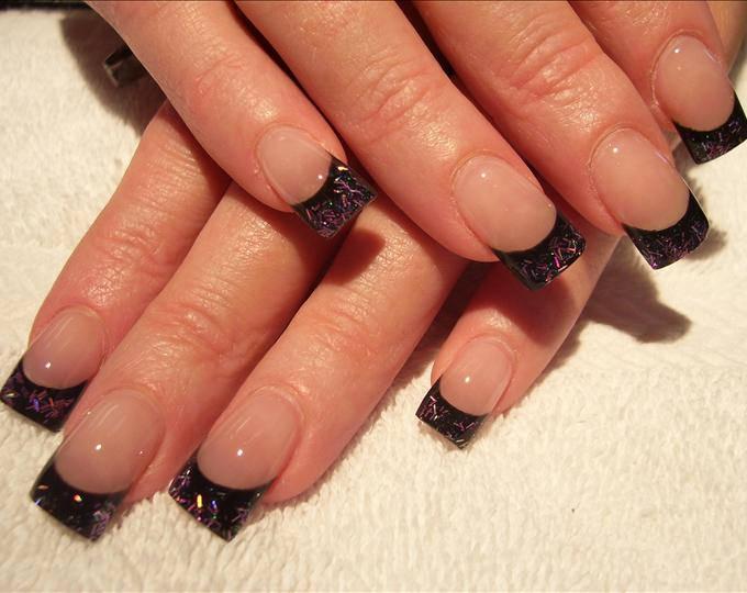 black glitter nail design