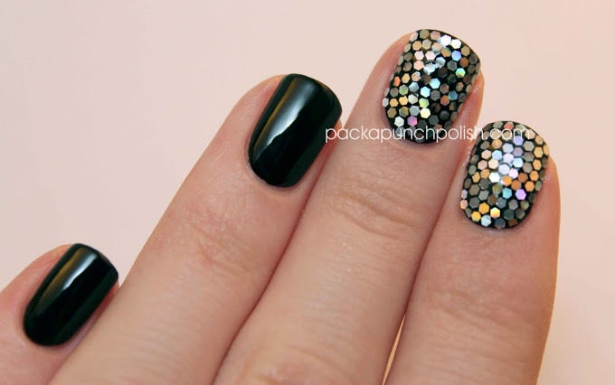 black and silver glitter placement nail art