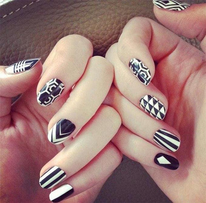 black and white nail art image