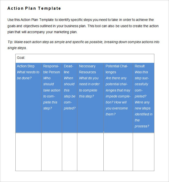 free action plan template .