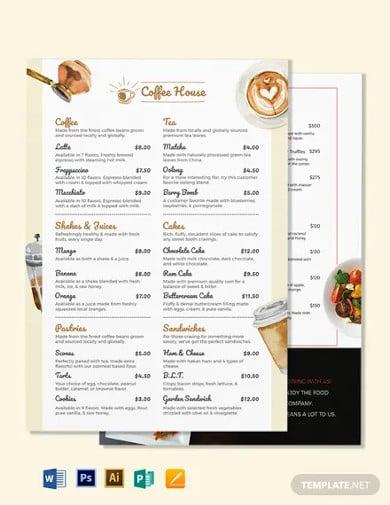 blank cafe coffee shop menu template