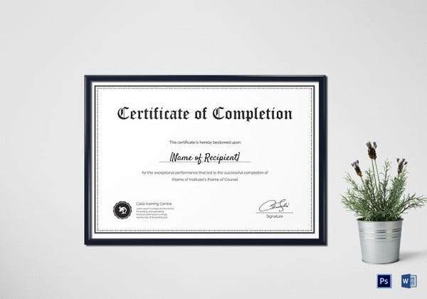 Blank Completion Certificate Template  Certificate Of Completion Template Free Download