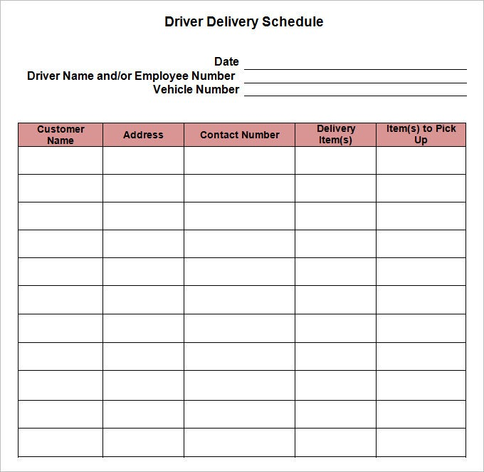 radio schedule template - delivery driver schedule template