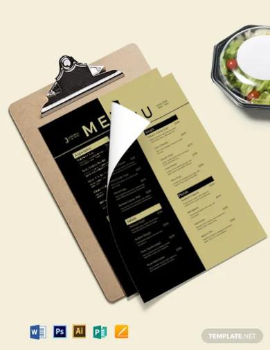 blank dinner menu template