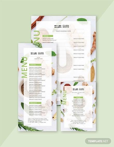 blank food menu template