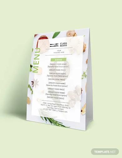 blank food menu template1