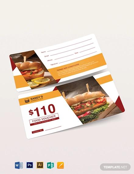 blank food voucher template