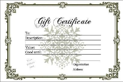 Blank Gift Certificate Template TSHkyegT