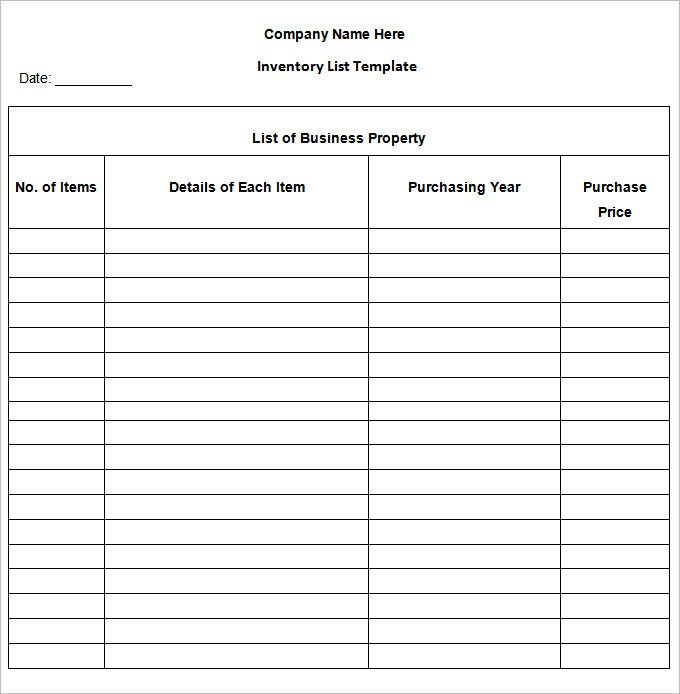 Inventory List Template 4 Free Word Excel PDF Documents