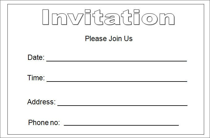 blank invitation template free - Party Invitation Template Word
