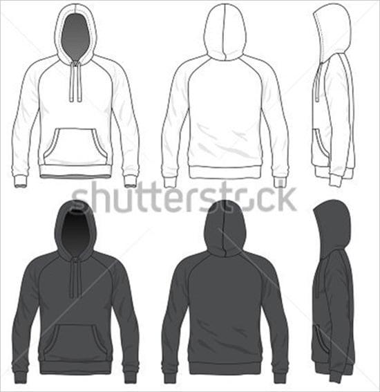blank men raglan hoodie in front back and side views