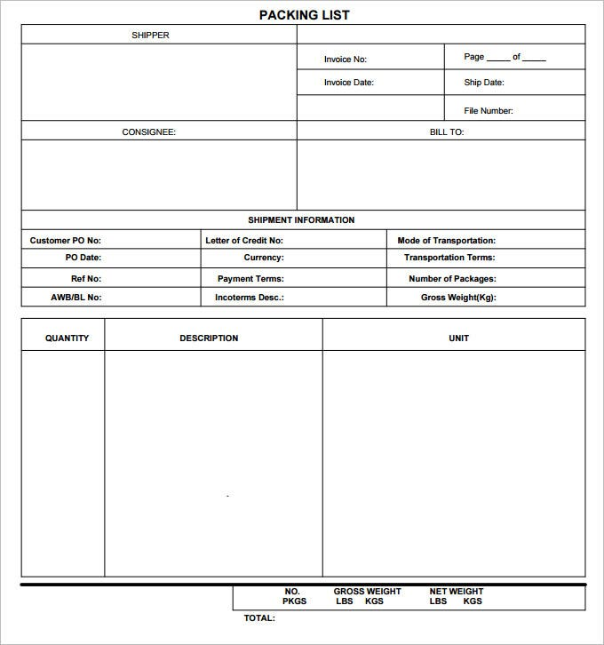 blank packing list template pdf