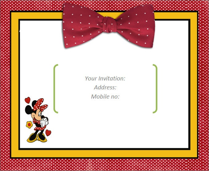 Attractive Blank Red Invitation With Mickey