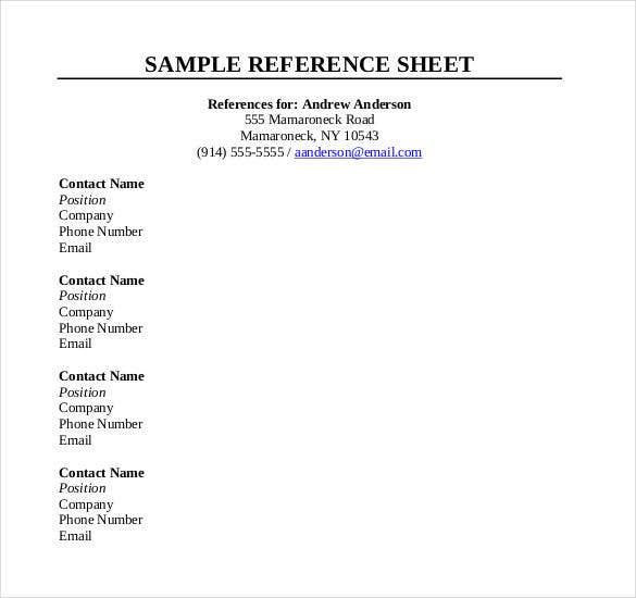 Nice Reference Sheet Template Free Word Pdf Documents Download