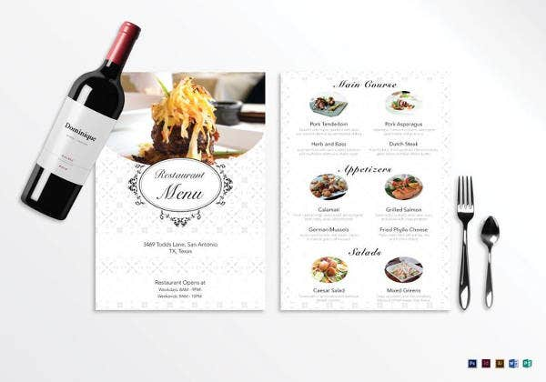 blank restaurant menu template in psd