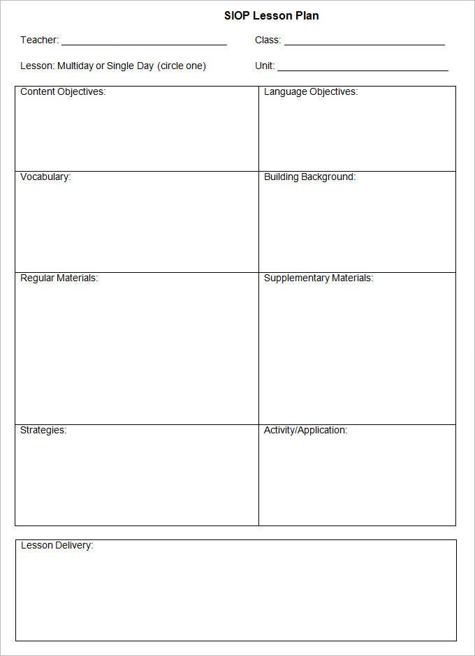 Sample Siop Lesson Plan Templates Free Download M1lu73iy