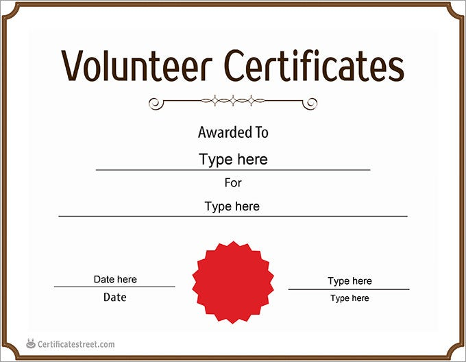 Volunteer certificate templates insrenterprises volunteer certificate templates pronofoot35fo Image collections
