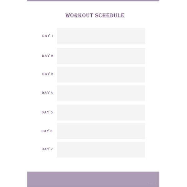 blank workout schedule template